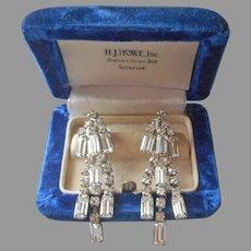 Drippy Rhinestone Earrings Vintage Screw Back Long Dangle