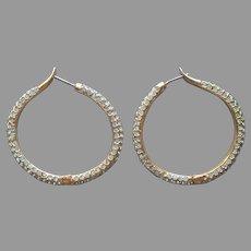 Aquamarine Blue Tiny Rhinestone Studded Hoop Earrings Pierced 1990s