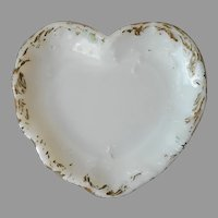Antique Milk Glass Heart Shaped Trinket Dish