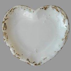 Antique Milk Glass Heart Shaped Trinket Dish