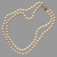 Double Strand Faux Pearls Necklace Vintage 7 mm Gold Tone Clasp