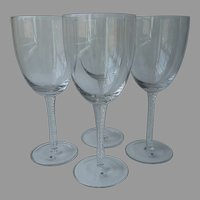 Large Air Twist Stem Goblets Crystal Set 4 Unused Carole Little