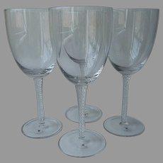 Large Air Twist Stem Goblets Crystal Set 4 Unused Carole Little