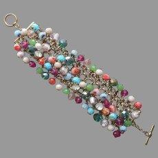 Colorful Glass Beads Metal Rollo Mesh Chain Cuff Bracelet