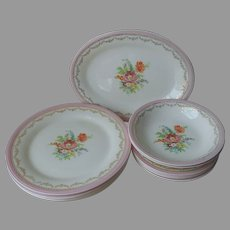 Pink Flowered Lacy Gold China Vintage Plates Platter Bowls Vintage