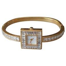 Cenere Watch Ladies Elegant Crystal Rhinestones Hinged Bangle Quartz