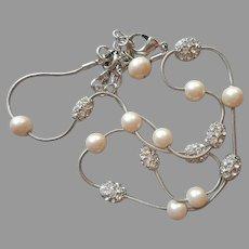 Monet Necklace Silver Tone Faux Pearls Rhinestone Balls Vintage