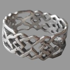 Thumb Ring Sterling Silver Open Woven Look Band 11
