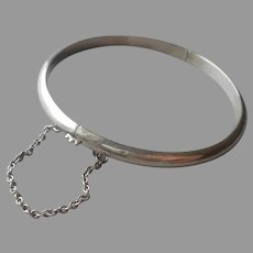 Sterling Silver Hinged Bangle Bracelet Narrow Guard Chain