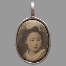 Pendant Silver With Image of Young Geisha Japanese Girl