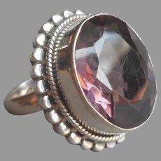 Amethyst Sterling Silver Big Ring Vintage Size 8