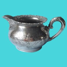 Victorian Creamer Silver Plated Antique Van Bergh Floral