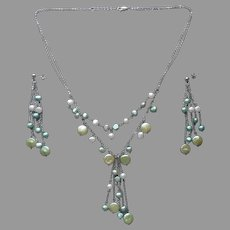 Sterling Silver Freshwater Pearls Necklace earrings Green Dangle