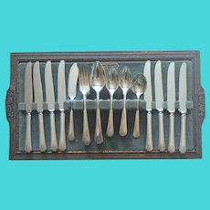 Art Deco Deauville 1929 Silver Plated Service 8 Flatware In Mirror Tray