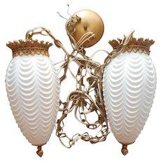 Ceiling Fixture Pair White Glass Pendant Lights Vintage Hollywood Regency Loevsky
