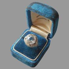 ca 1920 White Gold Filled Ring Filigree Faux Aquamarine 5.5