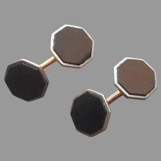 ca 1930 Cufflinks Button Style Hexagonal Black Glass Vintage Dolan Bullock Silver Tone