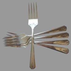 Deauville 1929 Salad Forks 5 Vintage Art Deco Silver Plated Vintage