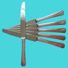 Deauville 1929 Dinner Knives 6 Vintage Art Deco Silver Plated Vintage