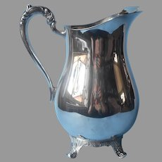 Water Pitcher Silver Plated Vintage Footed Ice Guard Vintage