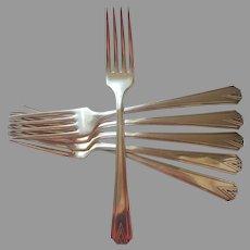 Deauville 1929 Dinner Forks 6 Vintage Art Deco Silver Plated Vintage