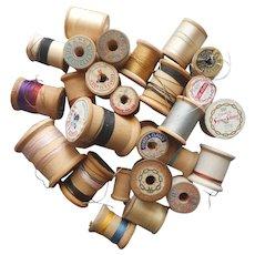 Wooden Thread Spools 28 Vintage