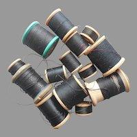 All Black Thread Cotton Silk Vintage Wood Spools