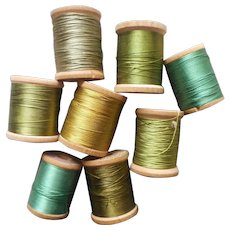Corticelli Silk Thread Wood Spools All Green Shades Vintage 8