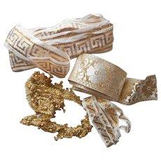 Gold Metallic Woven Ribbon Trim Gimp Vintage Braid White
