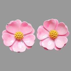 ca 1970 Hot Pink Enamel Painted Flower Earrings Metal