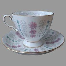 Turquoise Pink English Bone China Cup Saucer Vintage Tuscan