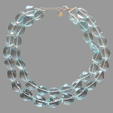 Aqua Chunky Glass 2 Strand Necklace Irregularly Big Facets Talbots
