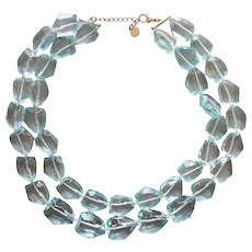 Aqua Chunky Glass 2 Strand Necklace Irregularly Big Facets Talbots