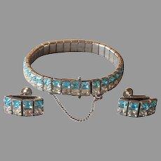Aqua Blue Clear Square Art Deco Rhinestones Bracelet Earrings Vintage