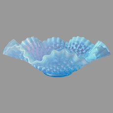 Fenton Opalescent Hobnail Bowl Blue Vintage Ruffled Crimped