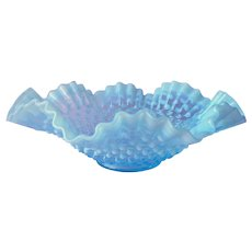 Fenton Opalescent Hobnail Bowl Blue Vintage Ruffled Crimped