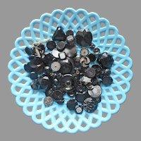 Antique Black Glass Buttons Large Amount Some Vintage