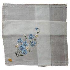 Blue Violets Hand Embroidery Swiss Hankie Vintage Unused w Label