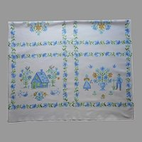 Printed Tablecloth Blue White Green Cotton 63 x 51 Vintage Kitchen