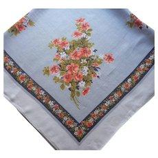 Square Printed Linen Tablecloth Vintage Kitchen Gray Navy Orange Floral