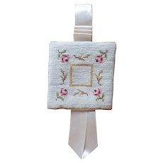 Needlepoint Pin Keeper Sachet Vintage Satin Ribbons Roses