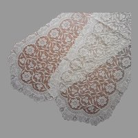 Embroidered Net Lace Pair Runners Runner Vanity Doilies Vintage Unused