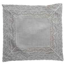 Linen Wide Lace Hankie Handkerchief Vintage