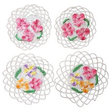 Pansies Crocheted Lace 2 Pairs Little Doilies Vintage Hang Loops
