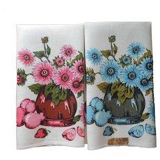 Linen Printed Tea Towel Pair Towels Vintage Unused Sunflowers Pink Blue
