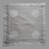 Semi Sheer Appliqued hand Embroidered Hankie Vintage All White