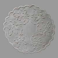 Coronation Cord Antique Doily Linen Hand Embroidered