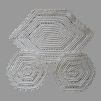 Crocheted Hot Pads Very Vintage Set 3 White Cotton
