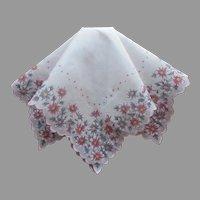 Unused Vintage Hankie Print Pink Purple Floral Dots Cotton