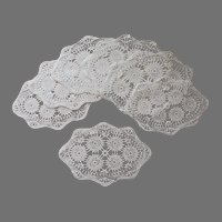 Tea Plate Doilies Crocheted Lace Oval Set 7 Vintage
